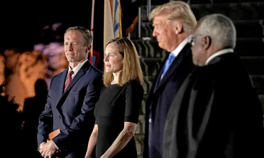Amy Coney Barrett is sworn in as a supreme court justice in October.