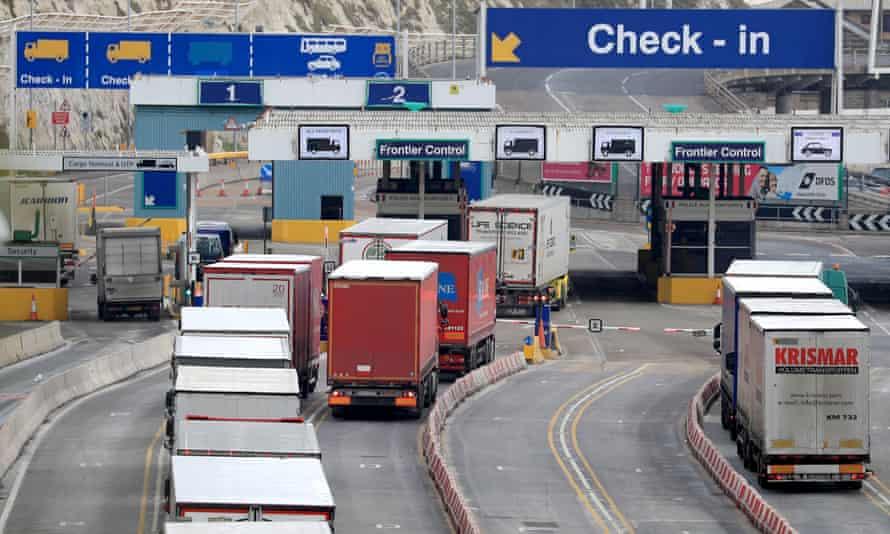 Lorries arriving at Dover in Kent