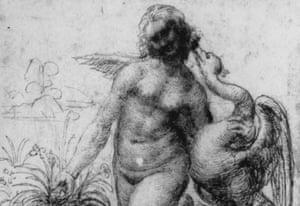 A sketch of Leonardo Da Vinci's destroyed painting Leda and the Swan, c 1503.