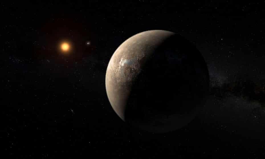 An artist's impression of Proxima b orbiting Proxima Centauri
