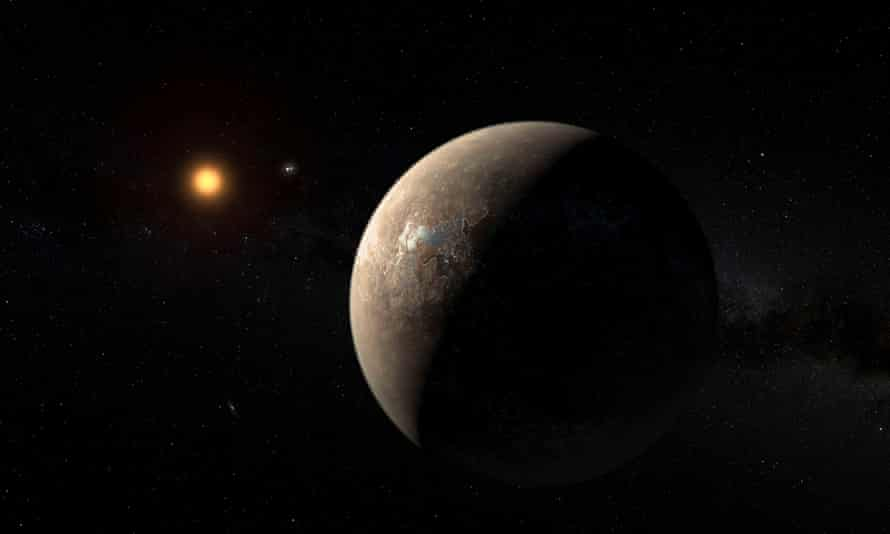 An artist's impression of the planet Proxima b orbiting the red dwarf star Proxima Centauri, the closest star to the solar system.