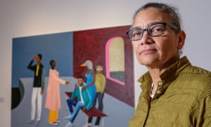 Turner Prize winner, Lubaina Himid, with her art piece, Le Rodeur: The Exchange, 20016, at the Ferens Art Gallery in Hull.