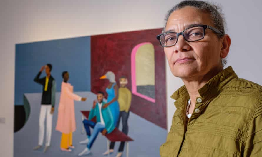 Turner Prize winner Lubaina Himid and her work Le Rodeur: The Exchange.