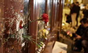 Memorials near Le Carillon cafe bar in Paris.