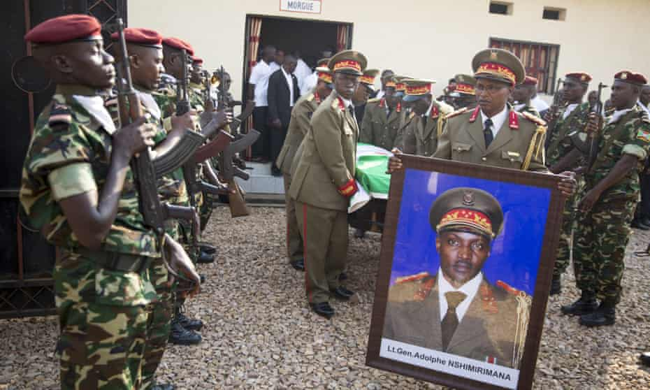 The funeral cortege for General Adolphe Nshimirimana, the head of Burundi's secret police, who was assassinated less than two weeks after the re-election of President Nkurunziza.