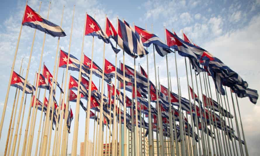 Cuban flags in front of the US embassy in Havana