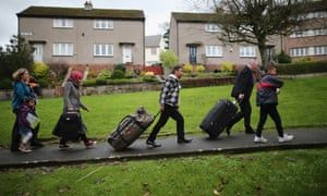 Refugees from the Syrian war arriving in Bute in December 2015.