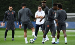 Frank Lampard oversees Chelsea training, in which Tammy Abraham has impressed the Chelsea manager.