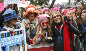 Gloria Steinem greets protesters before speaking at the Women's March on Washington.