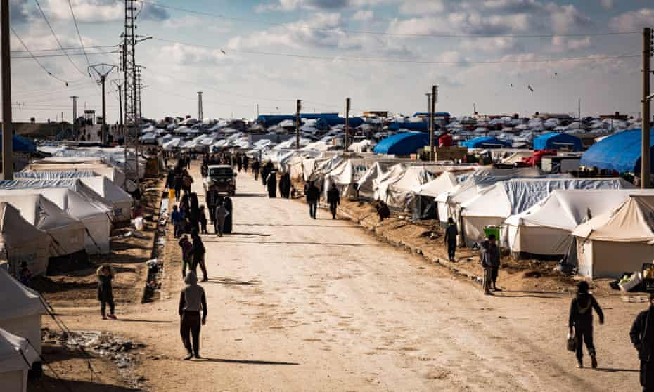 Refugees at al-Hawl camp in Syria