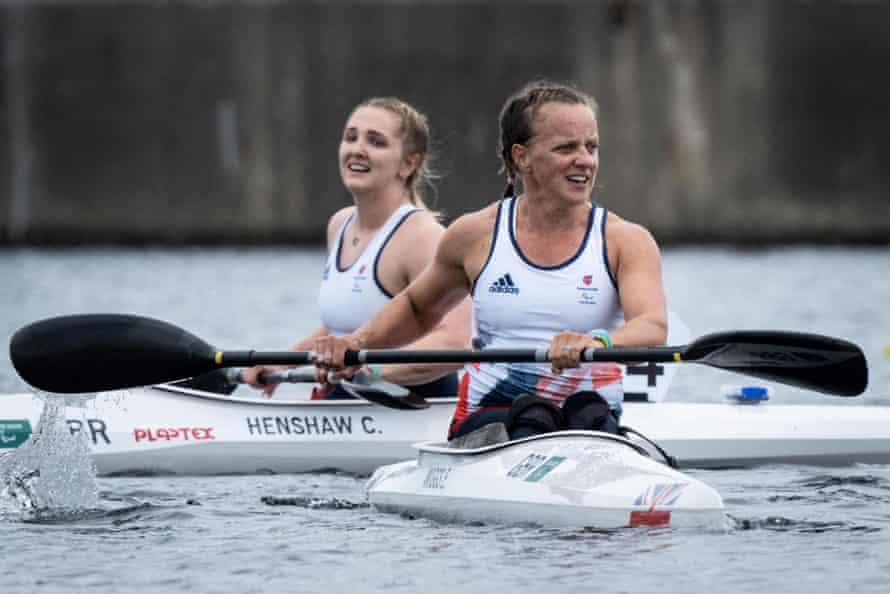 Emma Wiggs (R) and Charlotte Henshaw react after after competing in the final.