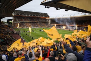 The teams enter the field at Molineux Stadium for Wolverhampton Wanderers first Premier League game against Everton.