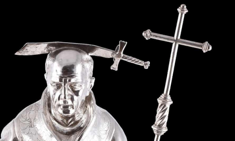 Canonised … a reliquary statue of Thomas Becket, made in Liege circa 1666.