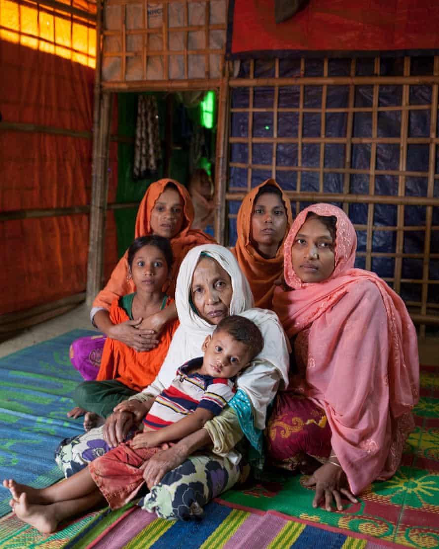 Clockwise from centre: Nur Begum; granddaughter Sonjida; daughter-in-law Zaheda; granddaughters Rojia and Gulsar; great-grandson Sultan.