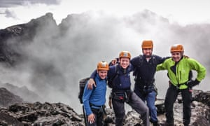 'You must get some right muppets' … Andrew, Richard, Neil and Donald before the ascent.