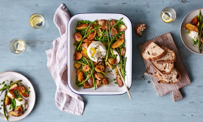 Rukmini Iyer's recipe for baked ricotta with thyme, roast jersey royals, new-season asparagus and lemon