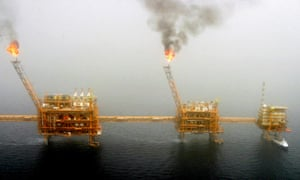 Gas flares from an oil production platform at the Soroush oil fields.