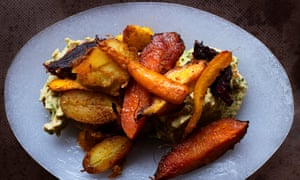 Roast spiced roots with haricot mash