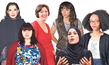 from left, Marina Abramović, Sofie Hagen, Frances O'Grady, Bridget Christie, Alaa Murabit and June Eric-Udorie.