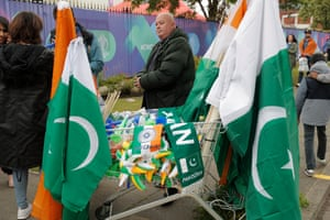 Merchandise seller outside Old Trafford before the India v Pakistan.