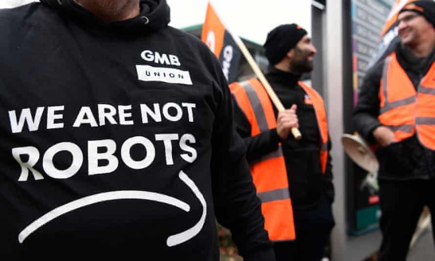 Amazon workers protest the company's working conditions in Milton Keynes, England.