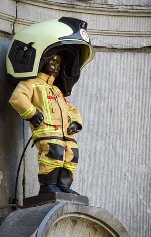 The Manneken Pis dressed as a Brussels firefighter