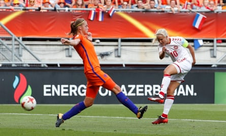 Denmark lost their play-off match against the Netherlands, despite Harder's well-scored goal.