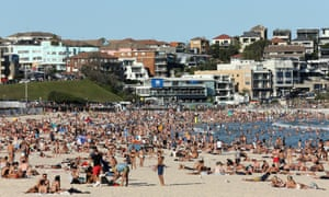 Thousands flocked to Bondi Beach in Sydney on Friday, when the temperature soared to 35C.