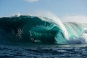 Myron Porter as another huge wave barrels.