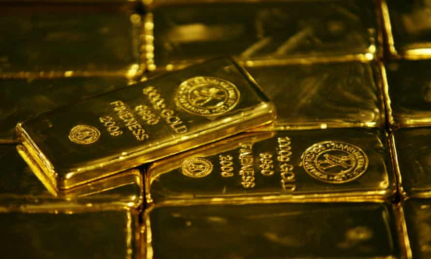 Gold bars are displayed at South Africa's Rand Refinery in Germiston.