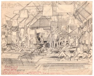 A sketch of the dysentery ward in the camp at Kranji, Singapore.