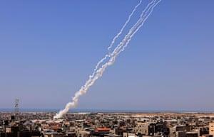 Rockets streak into sky