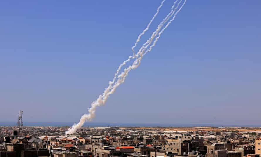 Rockets are launched towards Israel from Rafah, in the south of the Gaza Strip