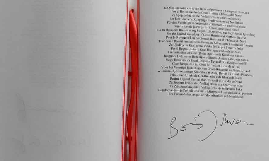 Boris Johnson's signature on the European Union withdrawal agreement.