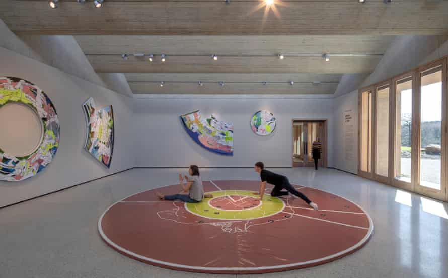 Tthe yoga mat in the centre of Thukral and Tagra's Bread, Circuses and TBD, installed in YSP's Weston building