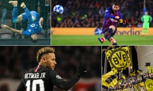 Clockwise Porto's Felipe, Lionel Messi of Barcelona, Borussia Dortmund fans and PSG's Neymar.