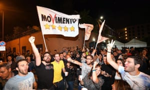 Supporters of the Five Star Movement celebrate Virginia Raggi's election as mayor of Rome on 20 June