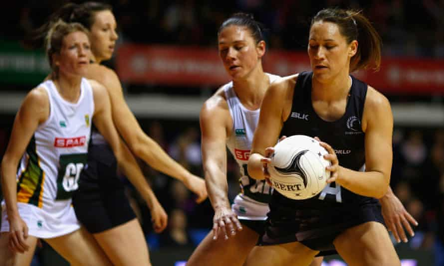 Jodi Brown of the Silver Ferns takes a pass during the recent Test Match against South Africa Proteas in Auckland.