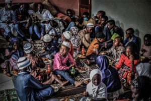 Vulnerable children gather for a shared meal at a Muslim community centre in Goma during Ramadan.