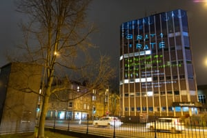 Word projected on the TechCube in Summerhall