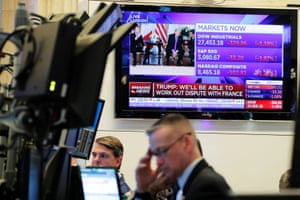 The floor of the New York Stock Exchange as U.S. President Donald Trump met with France's President Emmanuel Macron