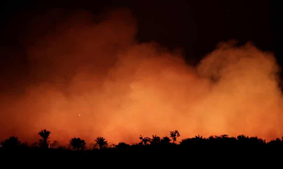 A fire in the Amazon rainforest near Humaita