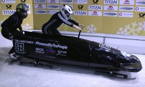Mica McNeill, right, the pilot of the GB women's bobsleigh team, prepares to start a training run with her brakeman Montell Douglas at Königssee in January 2018.