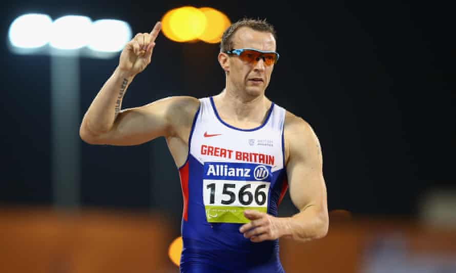 Britains' Richard Whitehead breaks the world record