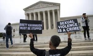 Demonstrators protest against Brett Kavanaugh outside the supreme court in Washington.