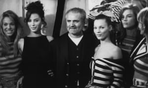 Gianni Versace and models backstage at the Atelier SS 1993 show, The Ritz, Paris.