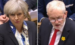 Theresa May and Jeremy Corbyn at PMQs in March.