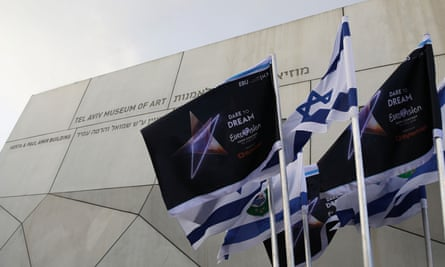 Israeli flags and flags bearing the logo of the 2019 Eurovision song contest flutter outside the Tel Aviv Museum of Art during the Eurovision semi-final allocation draw on 28 January 2019.