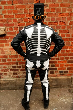 Steve Holmes shows off his skeleton leathers. Steve is part of a group of trike riders called Adventure for Dementia who travel around the country raising awareness and donations to support dementia sufferers