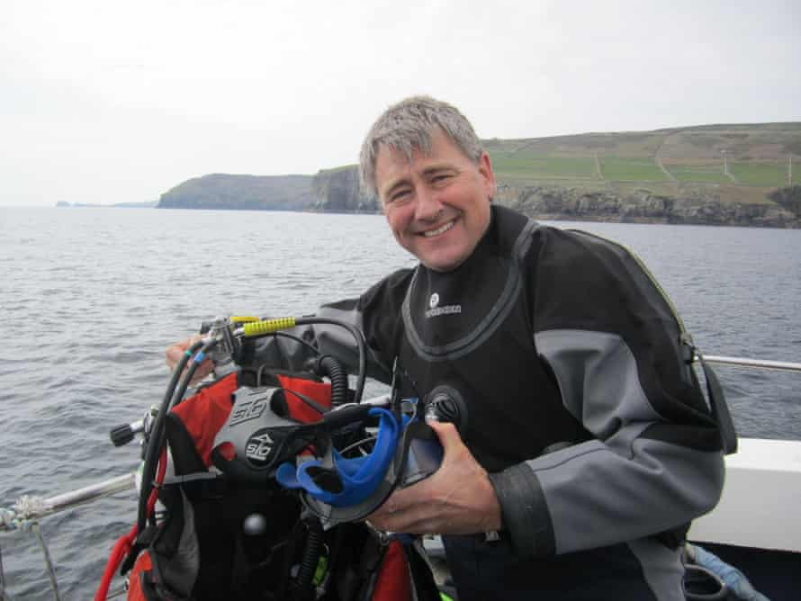 Callum Roberts preparing for a dive off the Isle of Man.